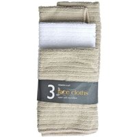3 Pack Micro Soft Face Cloths - Beige