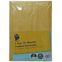 LetterHead 5 Pack Manilla Padded Envelopes Size D/1