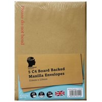 5 Pack Manilla Board Backed Envelopes C4