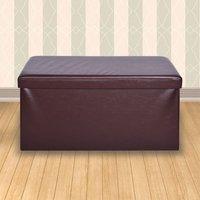 'Secreto Storage Ottoman Brown & Faux Leather Large