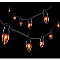 10 LED Bulb Amber Outdoor Static Flame Light Chain Mains 1.5m