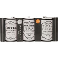 'Set Of 3 Sugar Tea Coffee Tins White