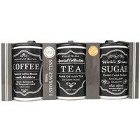 'Set Of 3 Sugar Tea Coffee Tins Black