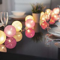 10 LED Glo-Globes String Lights Pink and White 10cm diameter