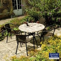 Nnardi Romano 90 Patio Garden Furniture Set & 4 San Remo Chairs