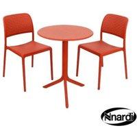 Red Step Garden Bistro Set & 2 Red Bistro Chairs