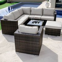 Maze Rattan London Corner Group With Chair and Ice Bucket - Brown