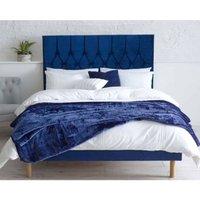 Catherine Lansfield Divan Velvet Blue 4ft 6in Double Bed Frame