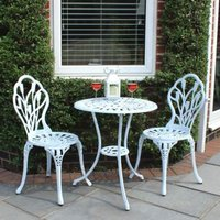 2 Seater Cast Aluminium 3 Piece Cast Garden Bistro Set - White