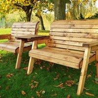 Twin Straight 2 Seater Scandinavian Redwood Garden Bench Set
