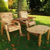 Twin Straight Companion Dining Scandinavian Redwood Garden Set