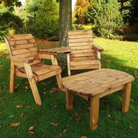 Twin Angled Companion Dining Scandinavian Redwood Garden Set