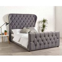 Janssen Wing Back Velvet Grey 6ft Super King Size Bed Frame