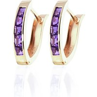 Amethyst Acute Huggie Earrings 0.85 Ctw In 9ct Gold