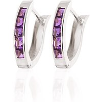 Amethyst Acute Huggie Earrings 0.85 Ctw In 9ct White Gold
