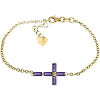 Amethyst Adjustable Cross Bracelet 1.15 ctw in 9ct Gold