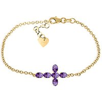 Amethyst Adjustable Cross Bracelet 1.7 ctw in 9ct Gold
