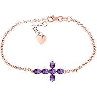 Amethyst Adjustable Cross Bracelet 1.7 ctw in 9ct Rose Gold