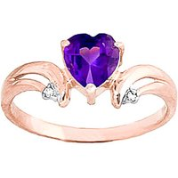 Amethyst and Diamond Affection Heart Ring in 9ct Rose Gold