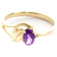 Amethyst & Diamond Angel Ring in 9ct Gold - Angel Gifts