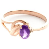 Amethyst & Diamond Angel Ring in 9ct Rose Gold - Angel Gifts