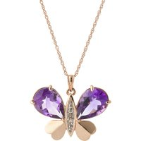 Amethyst & Diamond Butterfly Pendant Necklace in 9ct Rose Gold - Fashion Gifts