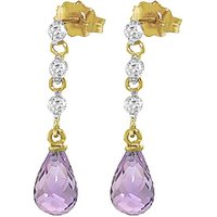 Amethyst and Diamond Chain Droplet Earrings in 9ct Gold