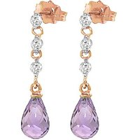 Amethyst and Diamond Chain Droplet Earrings in 9ct Rose Gold