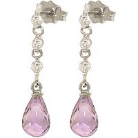 Amethyst and Diamond Chain Droplet Earrings in 9ct White Gold