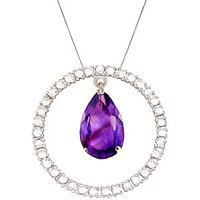 Amethyst & Diamond Circle of Life Pendant Necklace in 9ct White Gold - Life Gifts