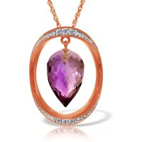 Amethyst & Diamond Drop Pendant Necklace in 9ct Rose Gold - Qp Jewellers Gifts