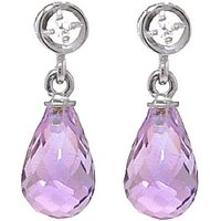 Amethyst & Diamond Droplet Earrings in 9ct White Gold - White Gold Gifts