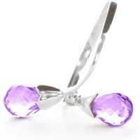 Amethyst and Diamond Duo Ring in 9ct White Gold