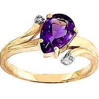 Amethyst and Diamond Flank Ring in 18ct Gold