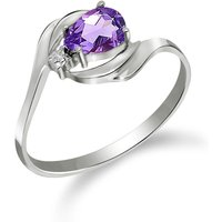 Amethyst and Diamond Flare Ring in 9ct White Gold