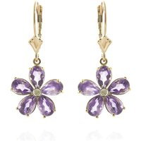 Amethyst & Diamond Flower Petal Drop Earrings in 9ct Gold - Flower Gifts