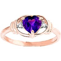 Amethyst and Diamond Halo Heart Ring in 9ct Rose Gold