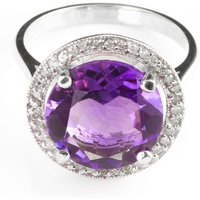Image of Amethyst & Diamond Halo Ring in Sterling Silver