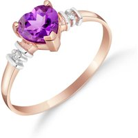 Image of Amethyst & Diamond Heart Ring in 9ct Rose Gold