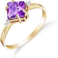 Amethyst and Diamond Princess Ring in 9ct Gold