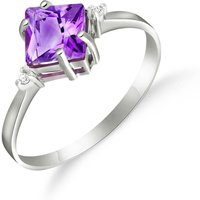 Amethyst and Diamond Princess Ring in 9ct White Gold