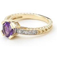 Amethyst & Diamond Renaissance Ring in 9ct Gold - Fantasy Gifts