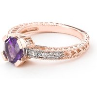 Amethyst and Diamond Renaissance Ring in 9ct Rose Gold