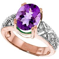 Image of Amethyst & Diamond Renaissance Ring in 9ct Rose Gold