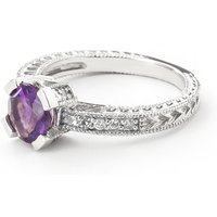 Amethyst & Diamond Renaissance Ring in 9ct White Gold - Fantasy Gifts