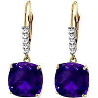Image of Amethyst & Diamond Rococo Drop Earrings in 9ct Gold