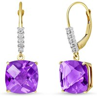 Amethyst & Diamond Rococo Drop Earrings in 9ct Gold - Cushion Gifts