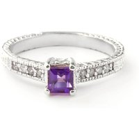 Amethyst and Diamond Shoulder Set Ring in 9ct White Gold
