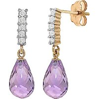 Amethyst & Diamond Stem Droplet Earrings in 9ct Gold - Jewellery Gifts