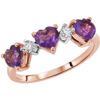Amethyst and Diamond Three Hearts Ring 1.5 ctw in 9ct Rose Gold